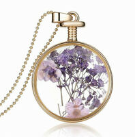 Elegant Gold Purple Lavender Flower Round Perfume Bottle Pendant Necklace N385