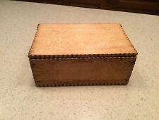 Vintage Old Pyrography Burnt Wood Dresser Box Profile Of Girl Flowers Post Cards