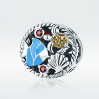 Ocean Charm S925 Sterling Silver Blue Bead CZ Pendant For Stylish Women Bracelet