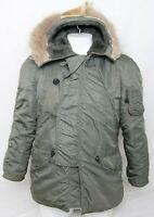 US Air Force Green Full Zip Hooded Pockets N-3B Flight Parka Fur Coat Men's M