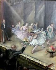 Attractive Antique Oil Painting   Ballet Dancers In Theatre 14 X 17 Inches