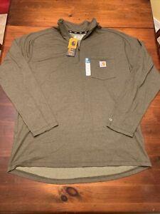 Men's NWT Carhartt Quarter Zip Green Pocket Logo Shirt Pullover Size Large