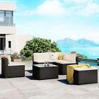 6 Piece Wicker Rattan Sectional Sofa Chair Table Set Patio Garden Furniture Set