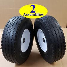 TWO 400-6 4.00-6 400x6 4.00x6 Sawtooth FLAT FREE Tire Rim Wheel Assembly 5/8