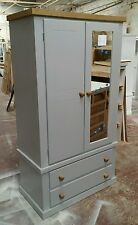 SHAFTESBURY SPECIAL GENTS 2 DRAWER WARDROBE WITH MIRROR GREY/ WAXED ASSEMBLED