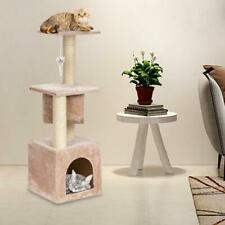 """36"""" Cat Tree Tower Condo Tunnel W/Scratch Post Pet Play House Bed with Toy Beige"""