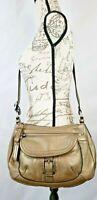 Giani Bernini Gold Pebble Leather Medium Crossbody Shoulder Bag Metallic Pockets