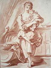 Femme Enfant FRANCOIS BOUCHER Gravure Sanguine Crayon BONNET Petit XVIII°