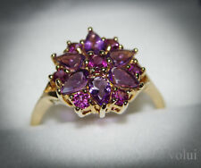 Beautiful 9 Carat Gold Amethyst Ring Floral Design UK Size P