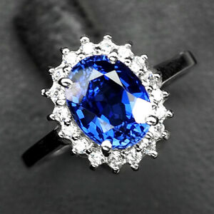 SAPPHIRE KASHMIR BLUE OVAL 3.60 CT. 925 STERLING SILVER RING SZ 7 ENGAGEMENG