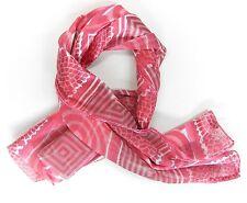 NEU 150x35cm SATIN SCHAL rosa-weiß-pink TOLLES Muster DAMENSCHAL HALSTUCH