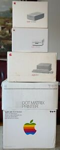"""Vintage Apple IIGS Computer A2S6000 w/Monitor 3.5"""" 5.25"""" Drive Printer in Boxes"""