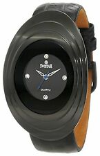 NEW Swistar 107-26L Women's Oval Case Blue Seconds Hand All Black Leather Watch