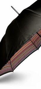PAUL SMITH Black Multicoloured Canopy Print UMBRELLA Wood Handle Men's Gift