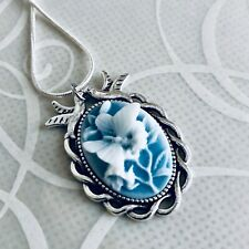 BUTTERFLY Wedgwood Blue color Cameo w Doves SILVER NECKLACE Valentines Day gift