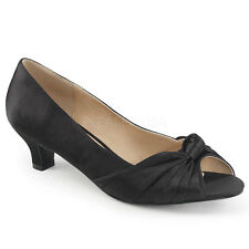 "2"" Ivory White Satin Vintage Bridal Wedding Low Kitten Heels Womans Shoes 11 12"