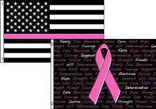 3x5 USA Thin Pink Line Breast Cancer Ribbon 2 Pack Flag Wholesale Combo 3'x5'