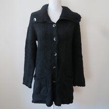 J Jill Womens Small Cardigan Sweater Black Long Textured Lightweight Pockets L/S