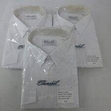 "3 x Churchill Men's White X Long Sleeve Shirts 19.5"" Smart Work Security Pilot"