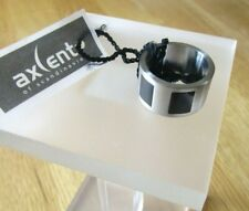 BRAND NEW MENS AXCENT OF SCANDINAVIA STAINLESS STEEL RING BLACK ENAMEL INLAY