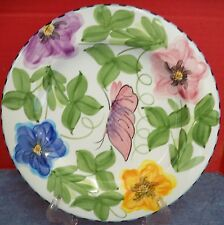 Laurie Gates Palisades 1 Salad Plate Flowers Leaves Insects Blue Checked Edges