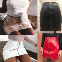 US Women High Waist PU Leather Mini Skirt Plain Flared Pleated Skirt Short Sexy