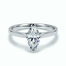 GIA certified  - 0.52Ct Marquise Diamond Solitaire Engagement Ring, Platinum