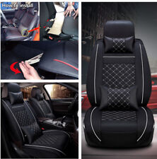 Waterproof Auto Car Seat Cover Cushion 5-Seats Front+4 PU Leather Pillows Size M