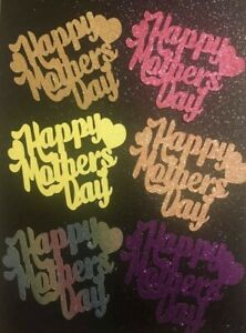 Happy Mothers Day Cup Cake Toppers with Hearts Pack of 6 Any Colour FREE UK P&P