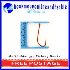50 x Size 3/0 Red Bait Holder Hooks Saltwater Freshwater Fishing Tackle Bulk
