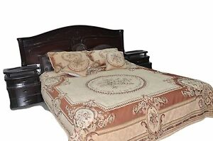 3 to 5 PC Chenille Woven Orange Desert Medallion Quilt Bedspread Set King Twin