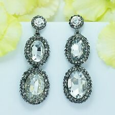Alloy black Crystal Rhinestone Oval Dangle Ear-nail Earrings