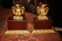 Vintage Wood Carved American Eagle Bookends Pair Gold Color Paint
