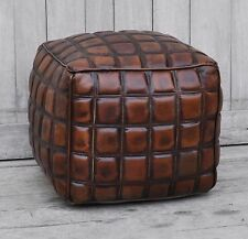 KEVI CHECKERED BROWN LEATHER OTTOMAN  POUF/ POUFFE / FOOTSTOOL - SQUARE
