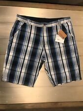 Mountain Warehouse Men's Cargo Shorts Size 38 NWT Checked Pattern Blue And White