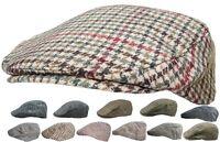 Mens Tweed Country Flat Cap Peaked Outdoors Check or Herringbone Racing Hat