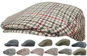 Mens Tweed Country Flat Cap Peaked Outdoors Check or Herringbone Racing Hat