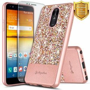 For LG Stylo 4 / Stylo 4 Plus Case Bling Glitter Phone Cover + Screen Protector