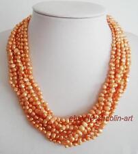 orange, natural, perles d'eau douce, collier, 45cm