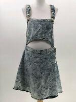 Lucky diamond denim stone washed bib overall dress belly cutout sz 3X  CM48