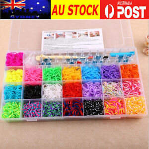 4400+ Loom Band Storage Kit with Bands Board Looms Hooks Clips Charm Kids Gift