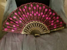 Pink Embroidered Fabric Folding Hand Held Fan Sequins Party Bridals Usa Seller