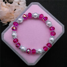 Wholesale Fashion Jewelry 8mm Pearl 8mm Crystal Beads Stretch Bracelet FR08