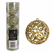 4 Pack Gold Glitter Filigree Bauble 6cm Christmas Hanging Decorations