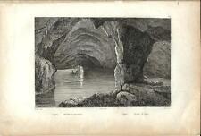 Stampa antica CAPRI Grotta Azzurra Napoli 1834 Old antique print Engraving