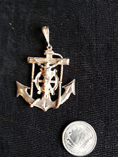 Vintage Mairners Nautical Crucifix Cross with Anchor Sterling Silver Pendant