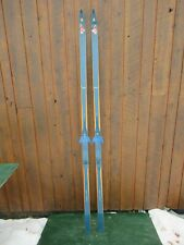 """New listing Great Vintage 81"""" Long Wooden Skis With Original Finish Signed Madsmus"""