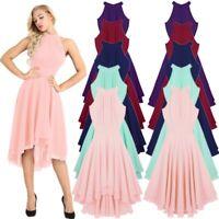 Women Halter Neck High-low Chiffon Bridesmaid Dresses Dancewear Party Prom Gown