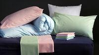 "Square 65cm 26"" Pillowcases Pair Luxury 200tc Cotton Blend Choice of Colours"