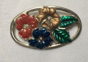 Vintage Coro Sterling craft Silver and enamel flower large brooch 5.9cm x 3.6cm